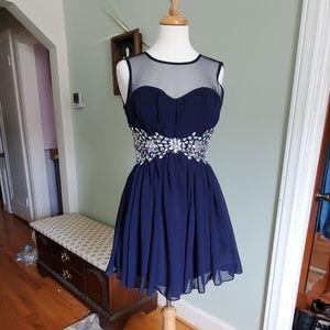 Rhinestone Accented Navy Dress